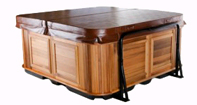 Hot tub with a Cabinet Free Cover Shelf