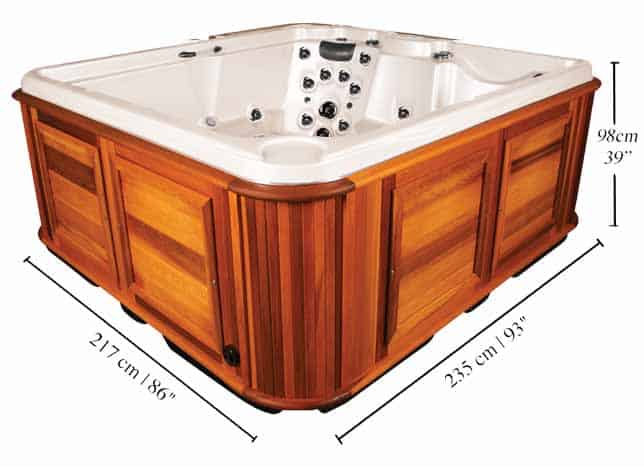 Side view of a Frontier hot tub