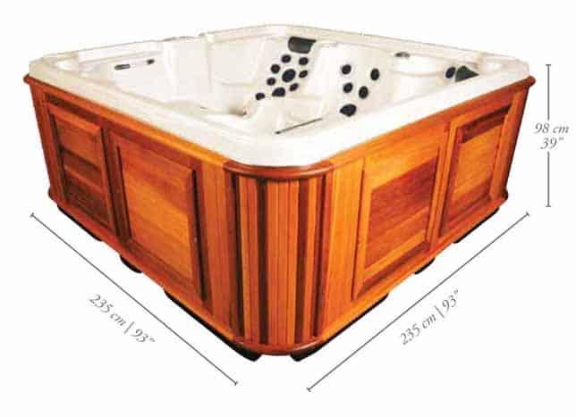 Side view of a Klondiker hot tub